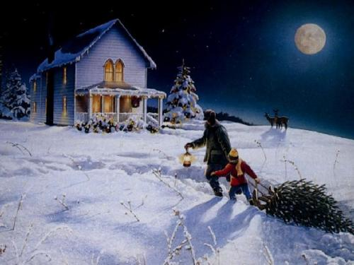 Sfondi di Natale - Casette Innevate